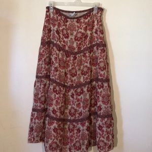 Ann Taylor Loft long floral skirt size 10